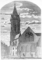 Een vrij primitieve voorstelling van koor en toren van de Grote Kerk, met links de Riviervismarkt, b ...