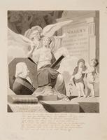 Allegorie ter nagedachtenis aan Willem V (1748- 1806), prins van Oranje-Nassau. Van links naar recht ...