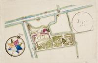 Het plattegrond van buitenplaats Leyenburg aan de Leyweg.