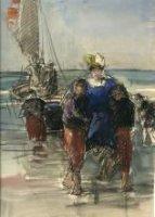 Twee zeelieden dragen een dame terug naar het strand, vanuit een vletter voor pleziertochtjes.