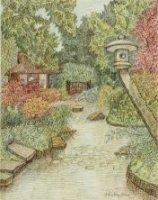 Gezicht in de Japanse tuin. Rechts een Japanse lantaarn boven een vijver, links een theehuis en in h ...