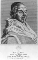 Portret van Jan van Neck (15e eeuw), Staatman en priester, met onderschrift waarin naam en functie e ...