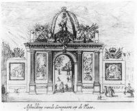 Erepoort ter gelegenheid van opkomst van Willem III, koning van Groot-Brittannië, in Den Haag op 5  ...