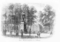 Het Plein met het standbeeld van prins Willem de Eerste (1533-1584); op de achtergrond het Mauritshu ...