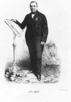 Portret van de componist en musicus Johan Heinrich Lübeck. In de rechterhand, welke rust op een les ...