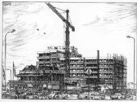 Appartementenhotel 'Atlantic' op het Deltaplein in aanbouw, met links hotel-café Zee en Duin aan de ...