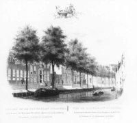 De Fluwelen Burgwal gezien in de richting van de Nieuwe Markt/Kalvermarkt. De gracht langs de huizen ...