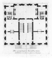 Plattegrond van de hoofdverdieping van het Mauritshuis; naar de situatie rond 1650; met schaalstok v ...