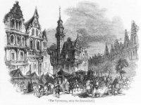 Een sterk gefantaseerde voorstelling van de Dagelijkse Groenmarkt rond het oude Raadhuis (midden).