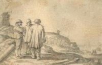 Drie mannen (vissers) in gesprek op een duin. Op de achtergrond links vermoedelijk de vuurbaak. Op e ...