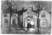 Een herfstavond bij drie huizen en een slopje aan de Noord- West Binnensingel (het latere Bij de Wes ...