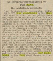 20 april 1927 bericht over staking in ' Voorwaarts'