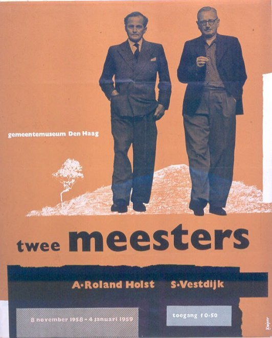 Twee meesters : A. Roland Holst / S. Vestdijk; vervaardiger: Kuiper, J.H.; 1958