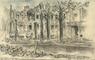De ruïnes van het Korte Voorhout na het bombardement van 3 maart 1945, gezien vanaf de Koningskade; ...