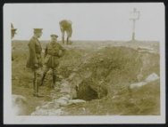 The  King of the Belgians at the entrance of an old German dug-out with general …