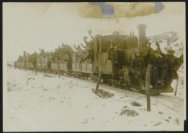 Train [pass]ing through captured territory and on [the way] up to the front line