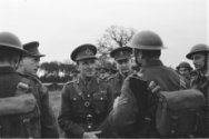 Army 624 Gen. Paget questioning a corporal during one of his inspection tours of…