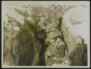 Some Tommies eating in a front line trench