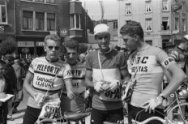 Bij de start, Jan Janssen, Dick Enthoven, Ab Geldermans en Huub Zilverberg