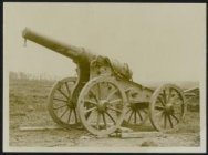 Captured German heavy gun on the battlefield