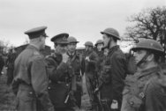 """Army 626 General Paget inspecting men of the Royal Netherlands Brigade """"Prinses …"""