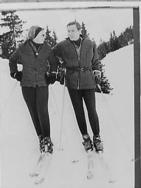 Prinses Beatrix en Claus in Gstaad, prinses Beatrix en Claus op de skis