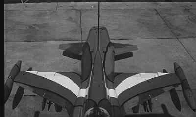 Een NF-5A met speciale rood-wit-blauwe beschildering.