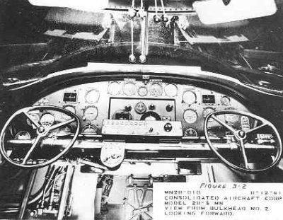 Interieur Consolidated PBY-5 Catalina maritieme patrouillevliegboot (1941-1957); besturing en vlieginstrumenten