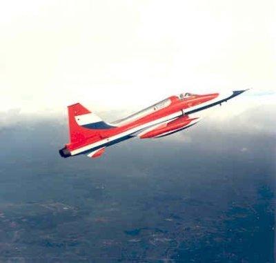 Een van speciale beschildering voorziene NF-5A in stijgvlucht.
