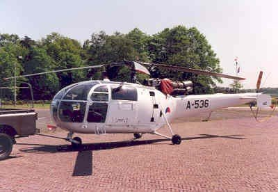 Alouette III heli, registratie A-536. Deze werd ingezet in het kader van UNTAC (United Nations Transitional Authority Cambodja)  in de periode 2 juni 1992 - 19 okober 1993.
