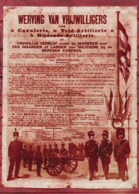 Affiche voor de werving van vrijwilligers voor cavalerie, veldartillerie en rijdende artillerie.