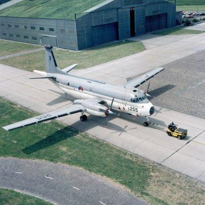 Het Breguet BR1150 Atlantic (SP-13A) maritiem patrouillevliegtuig 255 (1971-1981) op marinevliegkamp Valkenburg.