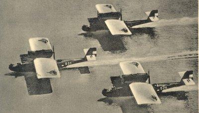 """Escadrille Dornier-Wal vliegboten  regnrs D24,(1929-1939)   D 33 (1930-1939), D - (1930-) landend  bij het marinevliegkamp """" De Mok"""", Texel"""