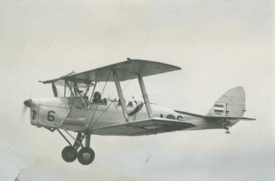 De Havilland DH.82A Tiger Moth in de vlucht.