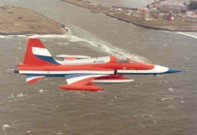 Een van speciale beschildering voorziene NF-5A vliegt op lage hoogte boven een haveningang. Rechtsboven is een roodgeschilderde vuurtoren zichtbaar.