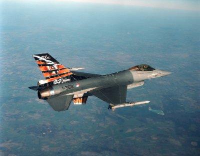 Een F-16 met beschildering '50 years 313 Sqn' in de vlucht.