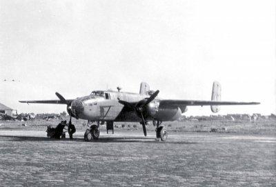 Eén van de vijf op Valkenburg aanwezige North American B-25