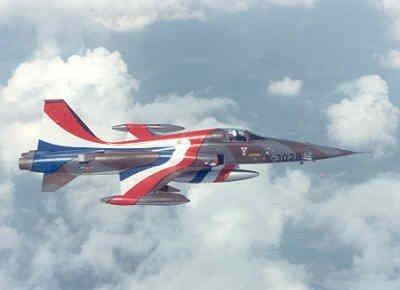 Een van speciale demo beschildering voorziene NF-5A vliegt boven de wolken. De camouflagekleuren grijs met groen zijn nog goed zichtbaar. Op de neus is een vogel  met gespreide vleugels geschilderd