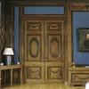 Interieur, overzicht van de gesloten ingebouwde kast met schuifdeuren en ladenkastin de eetkamer