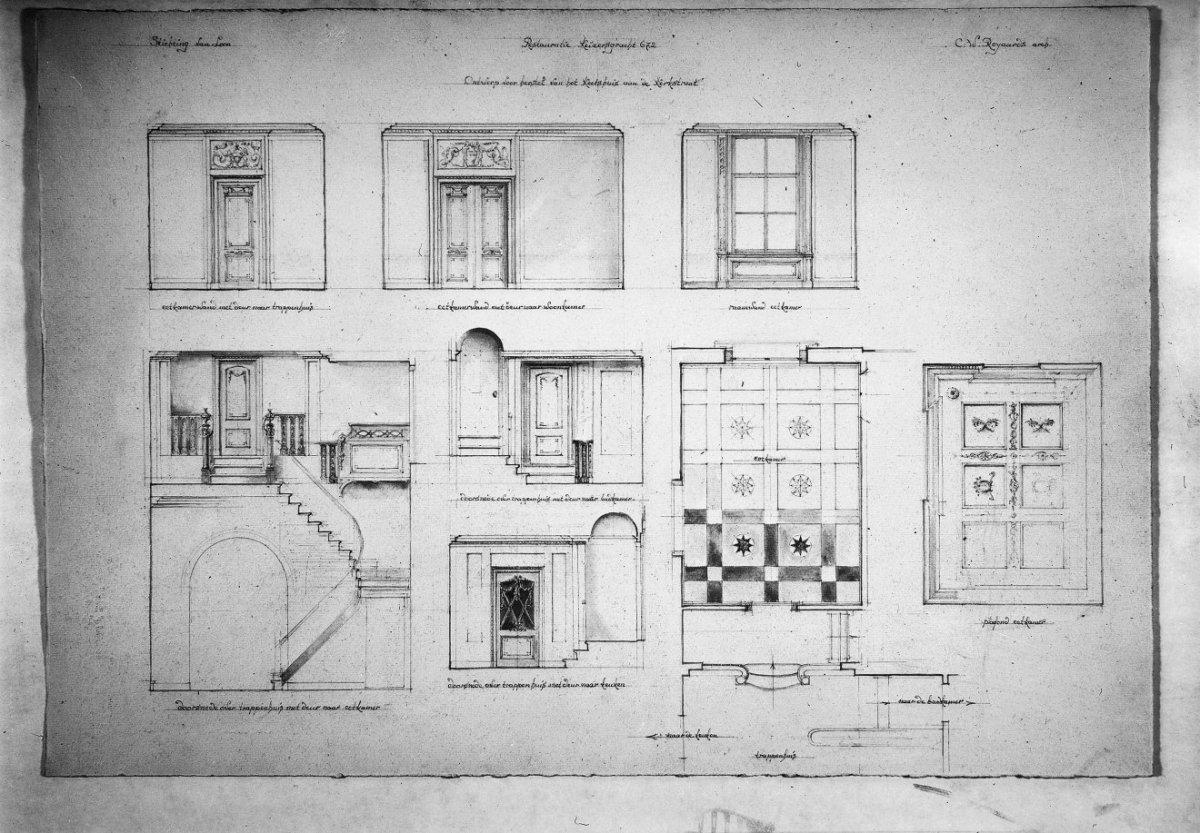 Dubbel huis met zandstenen gevel onder triglyfenlijst en attiek met middenpartij waarin balcon - Deco gang huis ...