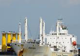 Reefer schip Green Nova van Green Reefers in de haven van...