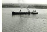 Boord boord overslag uit een zeeschip met drijvende kranen in de Put...