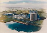 Artist impression van de katalysatorenfabriek van Engelhard...