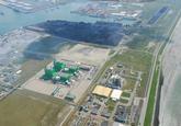 Luchtfoto Sloecentrale en omgeving met op de achtergrond de...