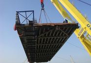 Plaatsen brug op ponton bij de nieuwe kade voor Scheepswerf...
