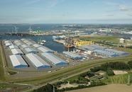 Scaldiahaven te Vlissingen-Oost. Links de loodsen van Verbrugge...