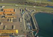 Luchtfoto werkzaamheden verlengen van de Westhofkade.