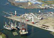 Diverse jackup schepen liggen in de Westhofhaven.