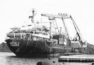 Lossen van het zeeschip Rafaela met drijvende kranen aan de terminal...