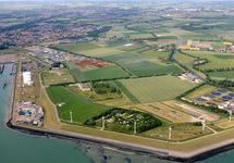 Luchtfoto gebied ten oosten van de Buitenhaven in Vlissingen.